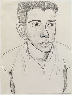 Alice Neel | Young Man, 1958, Ink on paper, 29.5 x 22.2 cm, 11 5/8 x 8 ¾ in.