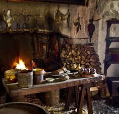 Voice of Nature — Medieval cottage Witch Cottage, Witch House, Witch Room, Kitchen Witchery, Hearth And Home, Cottage Interiors, Middle Ages, The Hobbit, Scenery