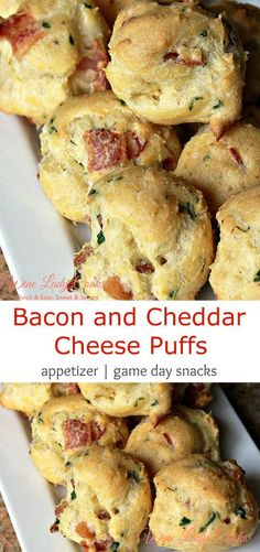Bacon and Cheddar Cheese Puffs easy to make any time for appetizers or game day snacks appetizer bacon cheese puffpastry gameday Cheddar Cheese Puffs Recipe, Queso Cheddar, Cheese Biscuits, Healthy Superbowl Snacks, Game Day Snacks, Bacon Appetizers, Appetizer Recipes, Party Appetizers, Party Snacks
