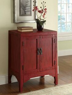 Rustic Red Accent Cabinet with 2 Doors by Coaster-11 Main