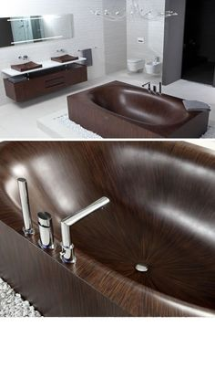 Combining German hand-crafting expertise and curved ship hull construction methods, this patterned wooden tub shoots both to satisfy the eye and to soothe any aching back. Alegna specializes in exotic woods like wenge and mahogany that show off grain patterns with stark contrasts or work for lig ...
