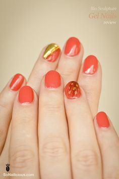 Bio sculpture gel nails - feature nail with a feather