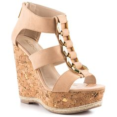 Aldo - Briradia  Price: $90  Bring it in the Briradia. ALDO features a bold wedge for everyday wear. A supple bone synthetic leather is features on the upper and thick straps. Gold chain detailing is showcased on the vamp for a dressed up look. Last but not least is a cork 5 inch wedge and 1 1/2 inch platform present with gold flecks.