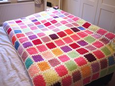 Big granny square blanket to cover the whole bed, In a range of Lovely Colours.