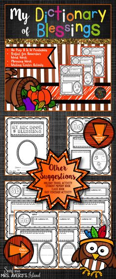 Your kids can use their creative ideas to make a personal Thanksgiving themed dictionary during November.  These no prep printables will allow students to count their blessings as they create their personal reference guide!  Perfect for incorporating into your ELA lessons on alphabetizing, November morning work, literacy centers, early finisher activities, substitute teacher activities, inside recess activities, and so much more!
