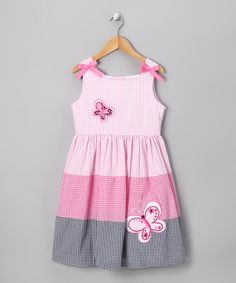 Take a look at this Rare Editions Pink Butterfly Seersucker Dress - Girls on zulily today!
