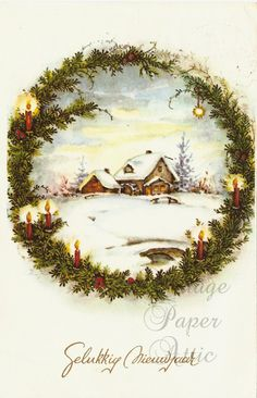 Vintage German Christmas Postcard Cottage by VintagePaperAttic