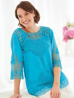 Medallion Lace Top By Koret® - <p> Make a statement in the season?s top trend. Exqusite lace overlay with attached matching tank. Pullover styling, scooped neckline, three-q
