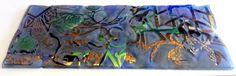 """PROMENADE"" - Lighting Rectangle - Signed by the Glass Art Creative Josep SanJuan - Tech.: Glass Fusing with Titanium, Gold & Platinum with a Retro-LED lighting system 175 x 100 cms, Weight: 25 kgs. Cat.: Metallic & Dichroic. Ref.: 2013-03-01-09"