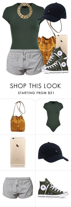 """""""Feeling sporty."""" by livelifefreelyy ❤ liked on Polyvore featuring MCM, Talulah, Tommy Hilfiger, NIKE, Converse and AllSaints"""
