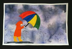 Rainy Day Watercolor that looks amazing!  Various ages & abilities can do this.  Perfect for spring showers!