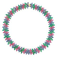 """Lot 182 Gold, Ruby, Sapphire and Emerald Floret Necklace 18 kt., ap. 35.4 dwt. Length 16 3/4 inches. C Estimate $2,500-3,500 Rubies: deep pinkish-red, moderately to very included, transparent to slightly cloudy, lively to moderate brilliance. Sapphires: medium light to deep cornflower blue, cleanish to moderately included, lively. Emeralds: medium dull green, included. Well-made mounting, handmade, open wirework mount. Good condition. Width 13/16"""". Doyle auction"""