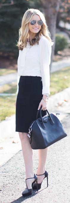 Black Business Friendly Knee-length Skirt by Ivory Lane