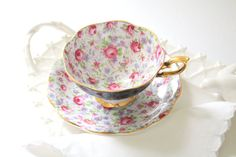 Mid Century, Royal Standard English Fine Bone China, Footed Chintz Teacup & Saucer, Oleander Shape, Wedding Gift Inspiration