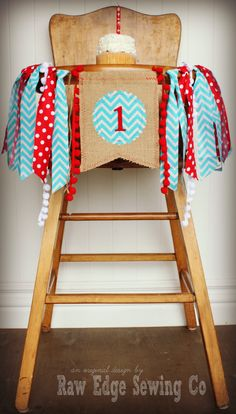 RED AND TURQUOISE Birthday Age High Chair by RawEdgeSewingCo