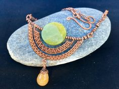 Maya necklace wire weaving with natural stone by artmosaic on Etsy