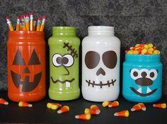 diy, handmade, homemade, recycling, jars, mason jars, paint, vinyl, halloween, decor, gifts, monster, faces, fun, cute