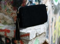 Black Clutch Bag - Evening Envelope Purse or Bag in black suede leather - Bag with tassel and chain by EleannaKatsira on Etsy Leather Tassel, Suede Leather, Black Suede, Black Shoes, Ankle Wrap Sandals, White Sandals, Open Toe Sandals, Black Clutch Bags, Cheap Sandals