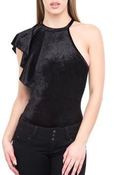 - Velvet material - Asymmetrical ruffle on sleeve - Slim fitting - High neckline - Style #2987-36484455
