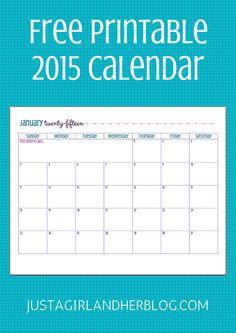 Free 2015 Calendar Printable! So cute! | JustAGirlAndHerBlog.com