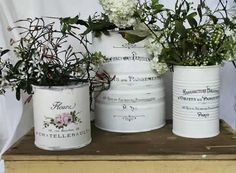 Amazing Ideas To Decoupage Tin Can Planters - lasthope Tin Can Crafts, Diy And Crafts, Vasos Vintage, Vintage Diy, Decoupage Tins, Tin Can Art, Recycled Tin Cans, Recycle Cans, Altered Tins
