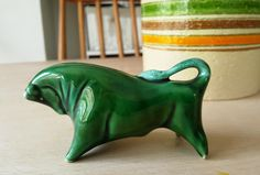 Midcentury Pottery Bull by Colin Melbourne Green Glaze 1950s by RetroandRitzy on Etsy