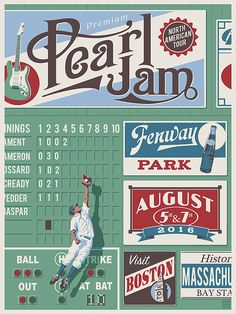 """Steve Thomas Pearl Jam Poster Boston Artist Edition Fenway Park Signed and noted """"No Edition"""" by Steve Thomas. Size of the poster is 18 x 24 Inches. The poster is Mint Condition and Stored Flat. Tour Posters, Band Posters, Music Posters, Event Posters, Retro Posters, Poster Vintage, Pearl Jam Fenway Park, Concert Rock, Pearl Jam Posters"""