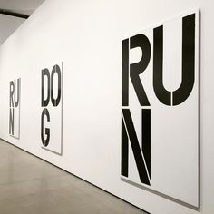 """""""Untitled 1990 by Christopher Wool In the late 1980s Wool started to incorporate text into his work through his inspiration from the graffiti 'sex' and 'luv' on a delivery truck. Applying black enamel through industrial style letter stencils onto sheets of white-painted aluminum Wool repurposes and reactivates passages from cultural idioms and song lyrics. 'Untitled' features the the words 'Run' and 'Dog' across a series of nine aluminum panels. The arrangement of the panels varies…"""