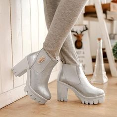 2014 New Arrivals Fashion martin women ankle boots Punk High thick heels short boots knight Black Silver Gold winter shoes C834-in Boots from Shoes on Aliexpress.com   Alibaba Group