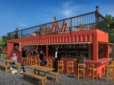 First look: Fetch, a planned dog-park restaurant in Old Fourth Ward Dogs dog park Container Coffee Shop, Container Cafe, Container House Plans, Container Design, Park Restaurant, Outdoor Restaurant, Cafe Shop Design, Food Park, Container Buildings
