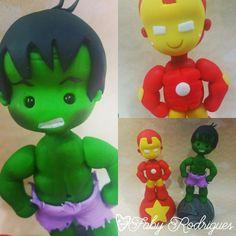 Contato : fabifabi-r@hotmail.com Hulk Superhero, Avengers, Clay Dolls, Goku, Yoshi, Smurfs, Cake Toppers, Iron Man, Fondant
