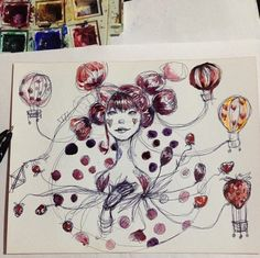 sunny funny monday: Watercolor - girl with hot balloons