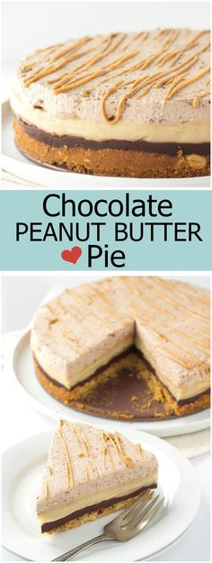 Lovely, layered, no bake Chocolate- Peanut Butter Pie recipe Peanut Butter Recipes, Chocolate Peanut Butter, Chocolate Recipes, Yummy Treats, Delicious Desserts, Sweet Treats, Yummy Food, Pie Recipes, Baking Recipes