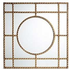 Three Hands Studded Wooden Mirror