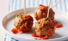 While meatballs are not in the glam appetizer realm, they're the first to go on most cocktail spreads. Ideal for any casual get together and over the top flavourful, they can also be made ahead if you like. The taste gets better as they sit. Mexican Meatballs, Chicken Meatballs, Mexican Food Recipes, Snack Recipes, Cooking Recipes, Ethnic Recipes, Brunch Recipes, Meatball Bake, Meatball Recipes