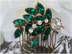 Emerald wedding hair comb