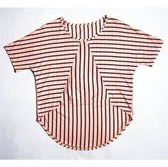 Striped summer top by RE*logyyy  #etsy #geometric #tshirt #shirt #top #triangle #longback #shortfront #fashion #pink #stripe #summer12 #beach