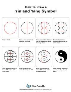 How to Draw a Ying and Yang Symbol - Printable Tutorial Yen Yang, Ying Y Yang, Yin Yang Art, Yin And Yang, Ying Yang Symbol, Mandala Art Lesson, Mandala Drawing, Mandala Painting, Geometric Drawing