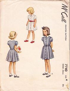 1940s Girls Dress Pattern - McCall 7740 - Childs Dress or Girls Dress Sewing Pattern. $20.00, via Etsy.