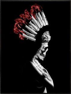 INDIAN SKULL GIRL por Russ Indian Skull, Skull Art, Art Girl, Statue, Artwork, Prints, Movie Posters, Skulls, Queens