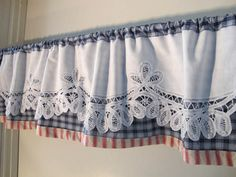 Classic Swedish Blinds and Faux Roman Shades by BettyandBabs - Battenburg Trim Valance, Red White Blue Valance, Woven Plaid and Ticking, Country Casual Cottage Cu - Cottage Curtains, Burlap Curtains, Country Curtains, Curtains With Blinds, Kitchen Curtains, Valance Curtains, Country Casual, Country Decor, Deco Champetre