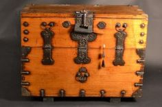 """Large Chinese Metal Bound Wooden Chest. Size : 17"""" x 37.5"""" x 29"""""""