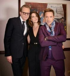 Final day of the Age of Ultron press tour in NYC - April 2015.  Paul Bettany, Cobie Smulders and Robert Downey Jr.