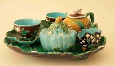 Minton Majolica Mushroom Finial Tea Set. Majolica International Society image from the Karmason Library