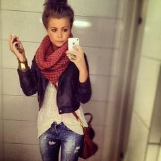 I'm in love with this fall outfit! Leather jacket - worn denim jeans - cozy scarf - messy bun.