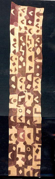 "Africa | Ceremonial Wrapper (""Tcaka"") from the Kuba people of the Sankuru River region of DR Congo | Raffia palm fiber, pigments | 20th century"