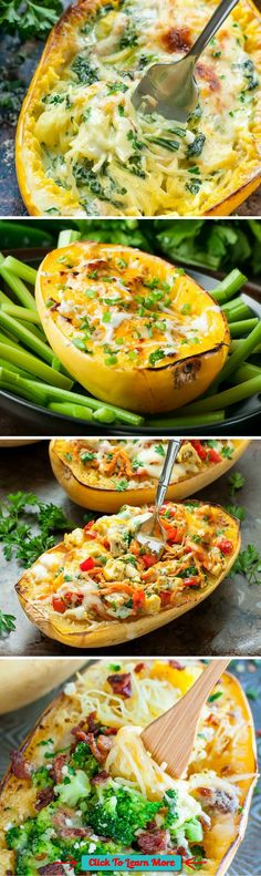 7 Ways to Stuff a Spaghetti Squash :: with vegan, vegetarian, and t-rex options available, theres something for everyone here! #health #fitness #weightloss #healthyrecipes #weightlossrecipes