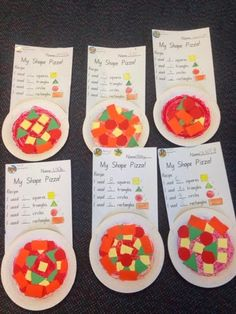 TEKS: Audience: Kinder Behavior: Sorting Shapes Condition: Creating Shape Pizzas, sorting and classifying the shapes as they count. How: Would be used as an explore on a lesson about shapes. 2d Shapes Kindergarten, Kindergarten Math Activities, Preschool Activities, Kindergarten Behavior, 2d Shapes Activities, Teaching Shapes, Teaching Math, Maths Eyfs, Math Classroom