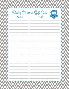 Baby Shower Gift List Set   Printable Download   Blue U0026 Gray Baby Shower  Decorations   B2001  Printable Baby Shower Guest List