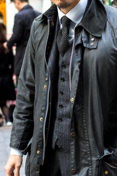 lnsee: Pinstripe 3-piece barbour jacket on top